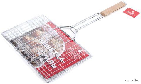 Решетка для гриля металлическая раскладная с деревянной ручкой (34,5х22х59 см)