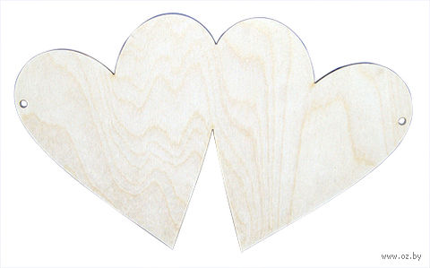 "Заготовка деревянная ""Панно. 2 сердечка"" (250 мм) — фото, картинка"