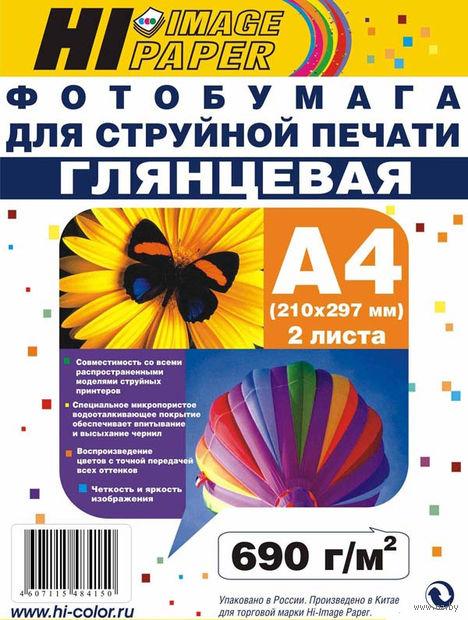 Фотобумага глянцевая односторонняя (магнитная, 2 листа, 690 г/м, А4)