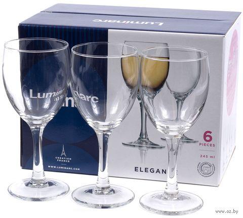 """Бокал для вина стеклянный """"Elegance"""" (6 шт.; 245 мл) — фото, картинка"""