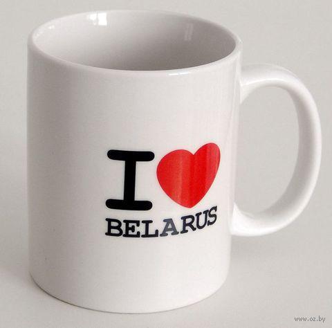 """Кружка керамическая Vitaem """"I LOVE BELARUS"""" (стандартная, белая)"""