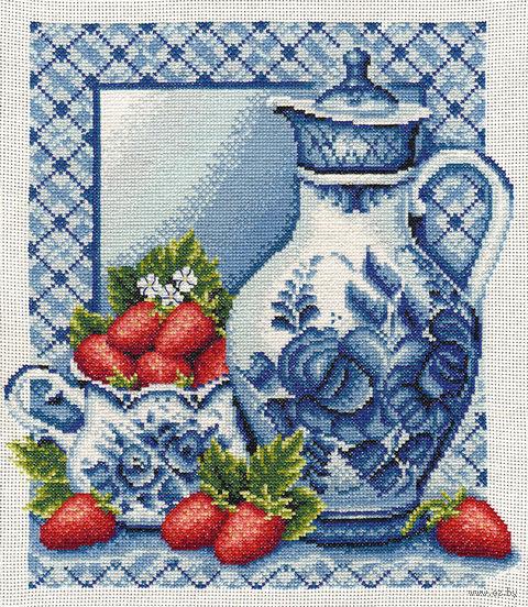 "Вышивка крестом ""Клубника со сливками"" (270x310 мм) — фото, картинка"