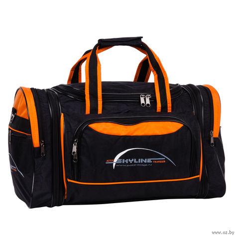 Сумка спортивная 6067-2 (38 л; чёрно-оранжевая) — фото, картинка