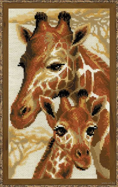 "Вышивка крестом ""Жирафы"" (220х380 мм) — фото, картинка"