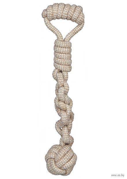 """Игрушка для собак """"Веревка с узлом и ручкой"""" (38х8 см) — фото, картинка"""
