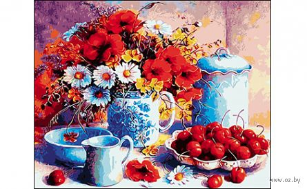 "Картина по номерам ""Натюрморт с цветами"" (400x500 мм) — фото, картинка"