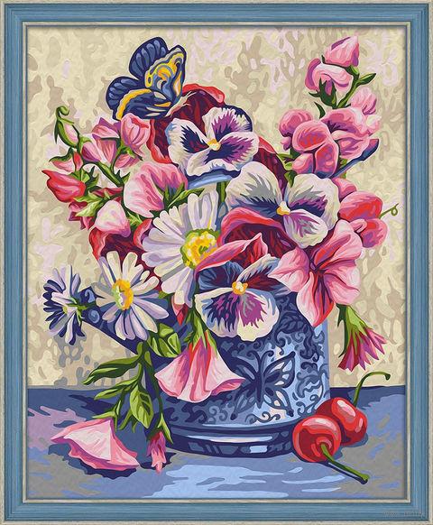"""Картина по номерам """"Ваза с бабочкой"""" (400х500 мм) — фото, картинка"""