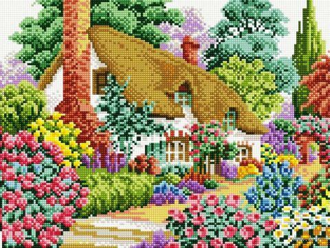 """Алмазная вышивка-мозаика """"Дом в саду"""" (300х400 мм) — фото, картинка"""