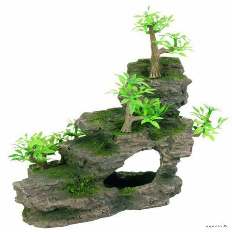 """Декорация для аквариума """"Утес с растениями"""" (19 см)"""
