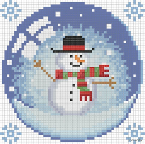 "Алмазная вышивка-мозаика ""Новогодний шарик со снеговиком"" (150х150 мм) — фото, картинка"
