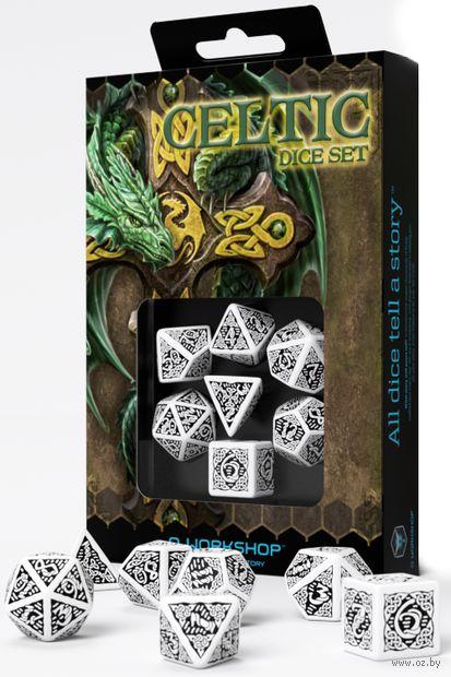 """Набор кубиков """"Celtic"""" (7 шт.; бело-черный) — фото, картинка"""
