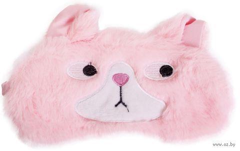 """Маска для сна """"Curious cat"""" (розовая) — фото, картинка"""