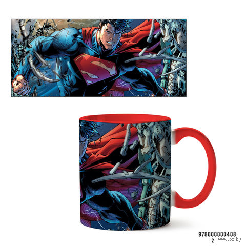 """Кружка """"Супермэн из вселенной DC"""" (красная; арт. 408) — фото, картинка"""
