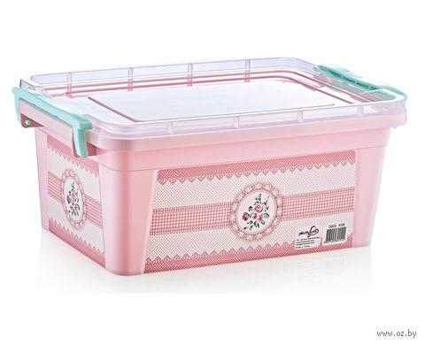 """Ящик для хранения с крышкой """"Розовые цветы"""" (10 л) — фото, картинка"""