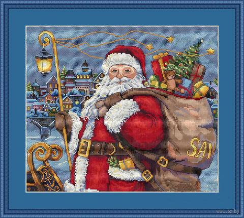 "Вышивка крестом ""Санта приходит!"" (280х250 мм) — фото, картинка"