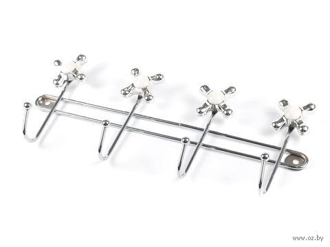 Вешалка настенная металлическая (4 крючка; 33х5х13,5 см; арт. XX3131-4)