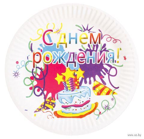 Тарелка одноразовая праздничная (6 шт.; 185 мм) — фото, картинка