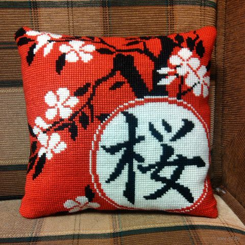 "Вышивка крестом ""Сакура"" (360х360 мм) — фото, картинка"