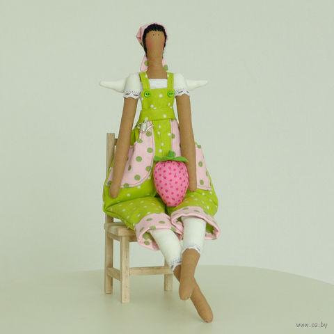 """Кукла ручной работы """"Девушка-садовник в салатовом комбинезоне"""""""