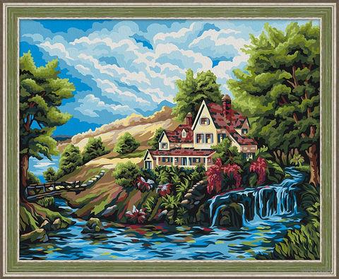 "Картина по номерам ""Домик у водопада"" (400х500 мм) — фото, картинка"