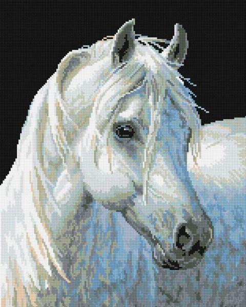 """Алмазная вышивка-мозаика """"Белый конь"""" (400х500 мм) — фото, картинка"""