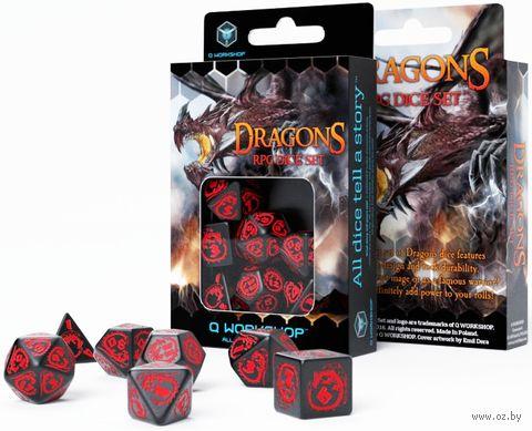 """Набор кубиков """"Dragon"""" (7 шт.; черно-красный) — фото, картинка"""