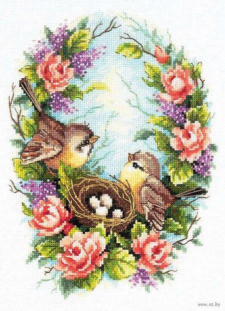 "Вышивка крестом ""Семейное гнездышко"" (190x250 мм) — фото, картинка"