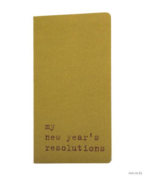 "Записная книжка в точку ""Chapter. My New Years Resolutions"" (75х140 мм; зеленая) — фото, картинка"