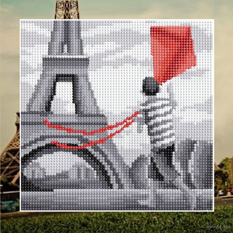 """Алмазная вышивка-мозаика """"Мальчик в Париже"""" (250х250 мм) — фото, картинка"""