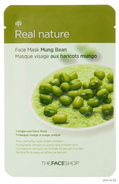 """Тканевая маска для лица """"Real Nature Mask Sheet. Mung Bean"""" (20 г) — фото, картинка"""