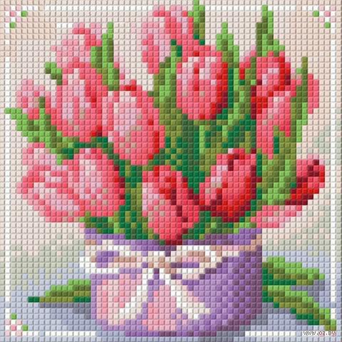 """Алмазная вышивка-мозаика """"Тюльпаны в подарок"""" (150х150 мм) — фото, картинка"""
