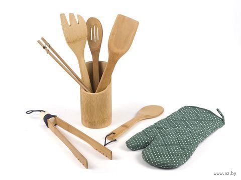 Набор кухонных инструментов деревянных на подставке (6 предметов; арт. MYKC8025) — фото, картинка