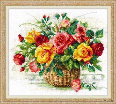 """Вышивка крестом """"Корзина с розами"""" (350х300 мм) — фото, картинка"""