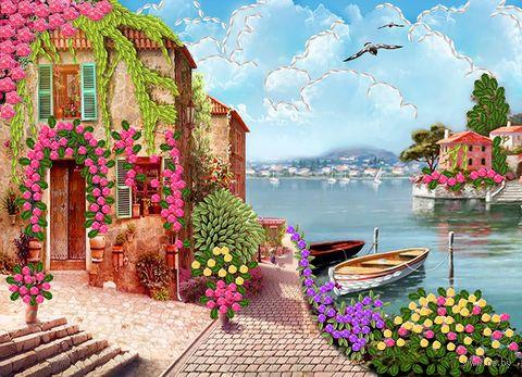 "Вышивка лентами ""Великолепие бухты"" (360х260 мм) — фото, картинка"