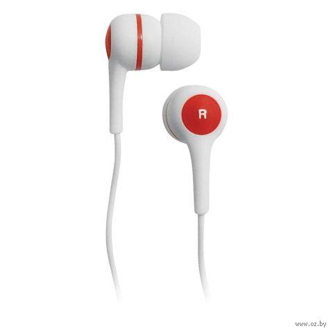 Наушники BBK EP-1260S (бело-красные) — фото, картинка