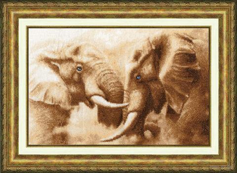 """Вышивка крестом """"Слоны"""" (227x351 мм) — фото, картинка"""