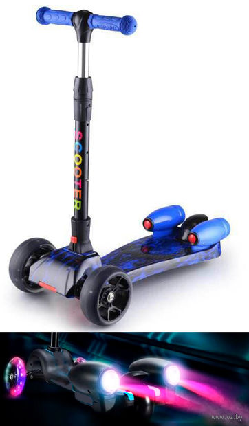 """Самокат трёхколёсный """"Scooter"""" с эффектами (чёрно-синий) — фото, картинка"""