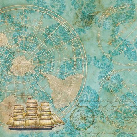 """Бумага для скрапбукинга """"Путешествие. Морская карта"""" (310х310 мм; 25 листов)"""
