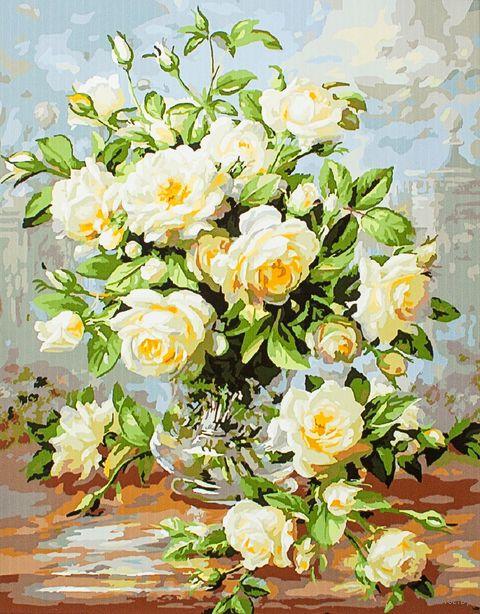 "Картина по номерам ""Букет белых роз"" (400х500 мм; арт. PC4050022) — фото, картинка"