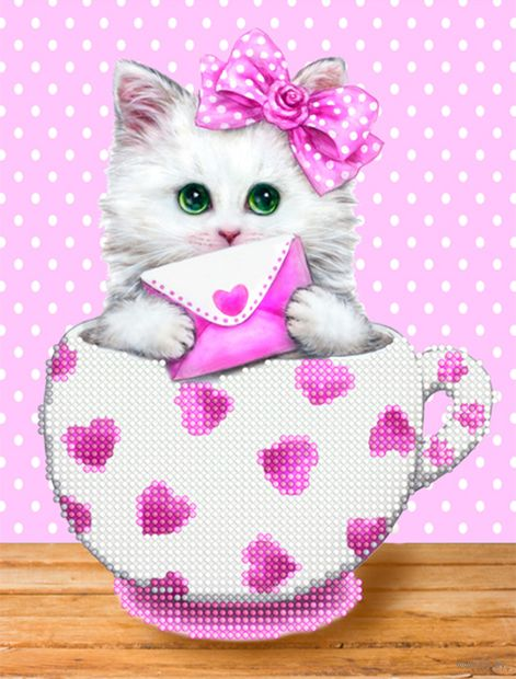 "Алмазная вышивка-мозаика ""Котенок в кружке. Сердечки"" (250х190 мм) — фото, картинка"