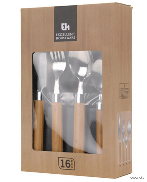 Набор столовых приборов металлических с пластмассовыми ручками (16 предметов, арт. DR7000380)