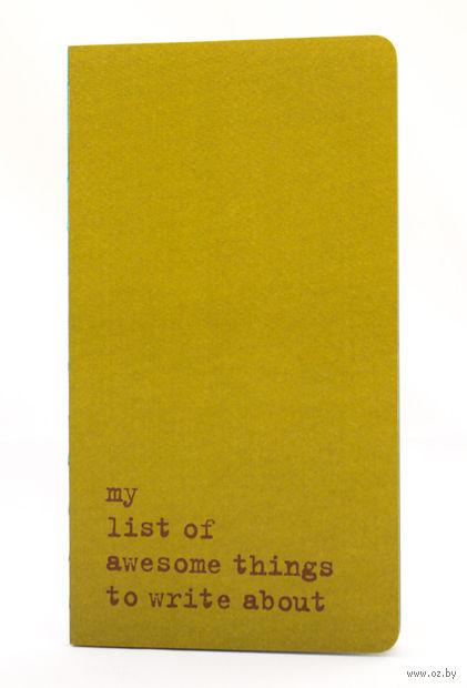 "Записная книжка в точку ""Chapter. My List of Awesome Things"" (115х210 мм; зеленая) — фото, картинка"