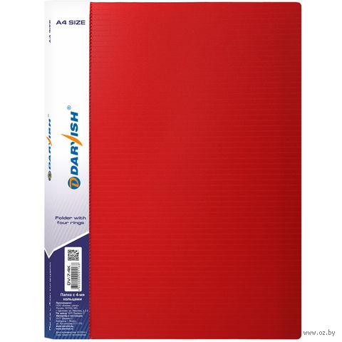 """Папка """"Darvish"""" на 4-х кольцах DV7-4K (А4/25 мм; цвет: красный)"""
