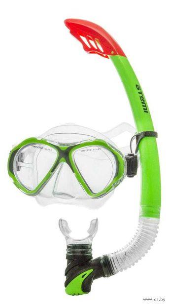 Набор для плавания (маска+трубка; салатовый; арт. 24111) — фото, картинка