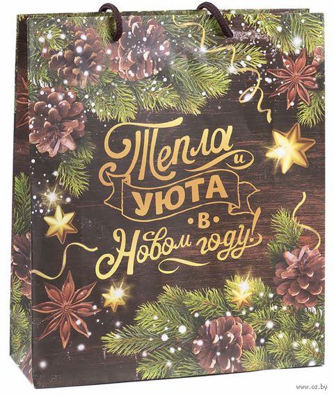 """Пакет бумажный подарочный """"Тепла и уюта в Новом Году"""" (31х40х11 см) — фото, картинка"""