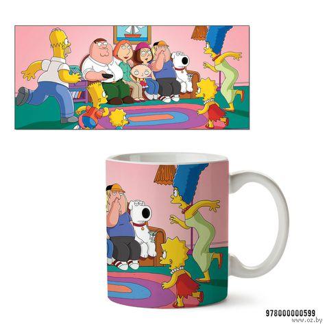 """Кружка """"Симпсоны и Гриффины"""" (белая; арт. 599) — фото, картинка"""