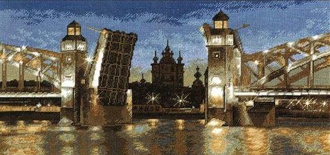 """Вышивка крестом """"Большеохтинский мост"""""""