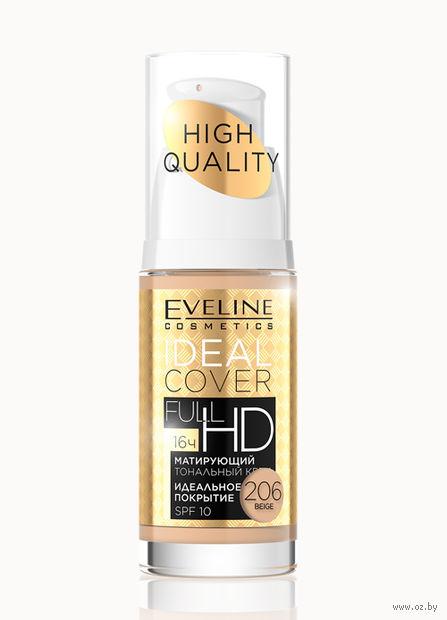 """Тональный крем для лица """"Ideal Cover Full HD"""" SPF 10 (тон: 206, бежевый) — фото, картинка"""