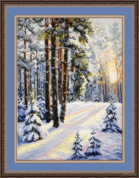 """Вышивка крестом """"Зимняя дорога"""" (300х400 мм) — фото, картинка"""