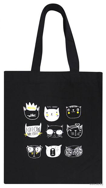 "Сумка-шоппер ""Cats face"" (черная) — фото, картинка"